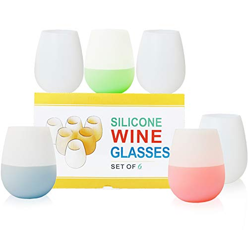KindGa Silicone Wine Glasses Set of 6 Unbreakable Stemless Outdoor Rubber White Wine Cups,100% Silicone Dishwasher Safety - Foldable Shatterproof Party Cups for Travel Camping Pool Picnic/ 12 oz