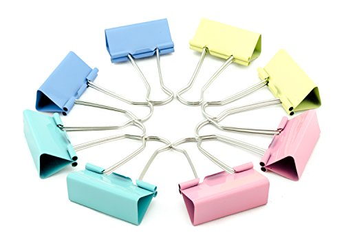 AKORD 15 mm Metal Binder Clip Clamp - Assorted Colours (Pack of 60)