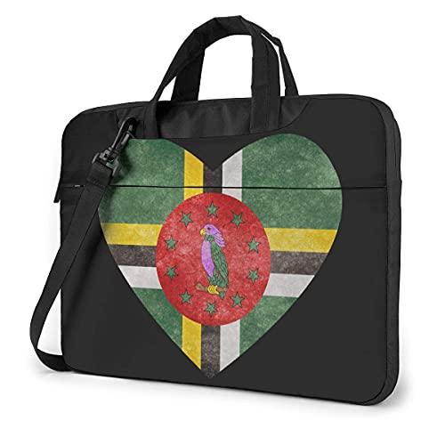 Bolsa De Hombro Para Portátil Dominica Heart Flag Laptop Bag Un Hombro Bolsa Para Computadora Portátil A Prueba De Golpes