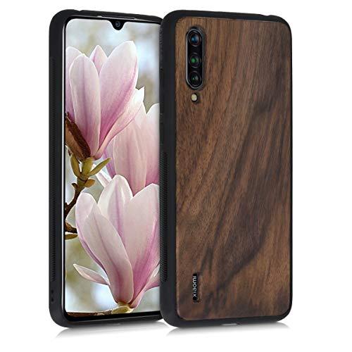 kwmobile Bumper Handyhülle kompatibel mit Xiaomi Mi 9 Lite - Holz Hülle Handy Hülle Cover Dunkelbraun