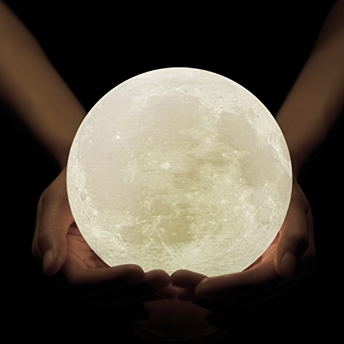 GPJOY Moon Lamp 3D Printing Moon Night Light Rechargeable Lunar Night Light, Dimmable Touch Control Brightness Warm and Cool White, Home Decorative Light with Wooden Stand, Diameter 3.9 Inch
