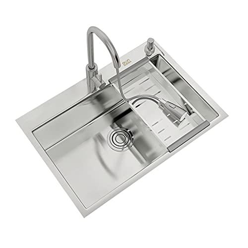 Fregadero de Acero Inoxidable 304 Fregadero de Cocina de un Tanque Fregadero Manual Fregadero de Gran Capacidad Aguas residuales de Doble Filtro (Color : Silver, Size : 60x45cm)