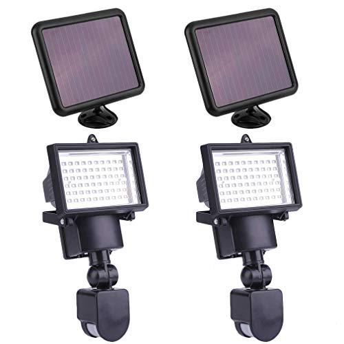 LED Solarleuchte Solarlampe Außen Leuchte Solarstrahler Bewegungsmelder Sensorlicht Wandleuchte (2 Stück)