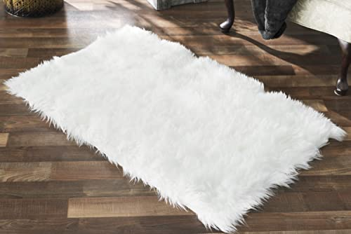 Large Rectangular French White Faux Sheepskin Rug