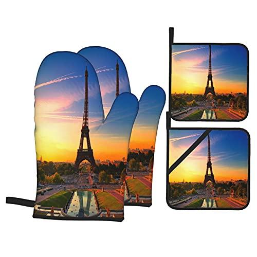 Guante de Horno de 4 Piezas y agarradera,Amanecer París Torre Eiffel,Guantes Aptos para Alimentos Antideslizantes Impermeables y Resistentes al Calor para microondas cocinar y Hornear en la Cocina