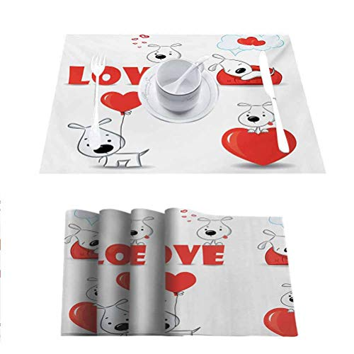 Tables Heat-Insulation Linen Kitchen Dining Pad, Love Funny Dogs with Heart Symbols My Pet Best Fr, Heat-Resistant Washable Place Mats, Set of 8