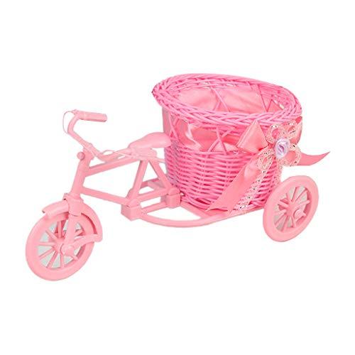 Kdjsic Cesta de Flores Artificiales Tejida a Mano Triciclo de ratán Maceta Bicicleta Bicicleta Exterior jardín Patio decoración de Almacenamiento de Objetos pequeños