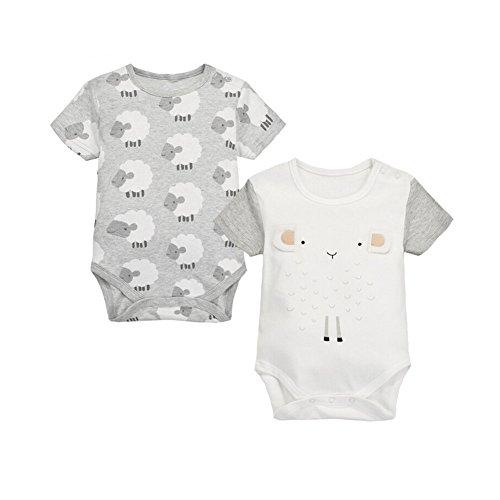 CuteOn Recién nacido Bebé Chicos Chicas 2 paquetes Mameluco Algodón body Conjunto 05 Oveja 18 Meses
