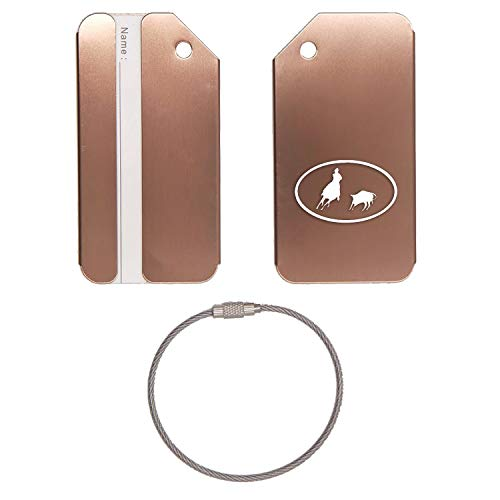 Cutting Horse Cut Out Oval Stainless Steel - Engraved Luggage Tag - Set of 2 (Coffee) - for Any Type of Luggage, Suitcases, Gym Bags, Briefcases, Golf Bags