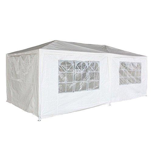 MCTECH® 3 x 6 m Bianco Tenda Esterno Tenda da Giardino Padiglione Tenda Birra Tenda Gazebo con 6 pareti Laterali, 4 finestre, 2 Porte con Cerniera, Copertura PE Impermeabile