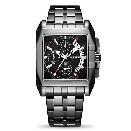 MEGIR Relógio masculino de aço inoxidável, à prova d'água, luminoso, negócios, analógico, quartzo, cronógrafo, relógio esportivo masculino, Todo preto
