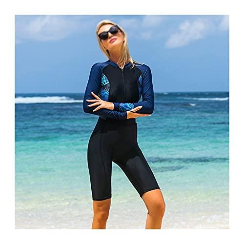 MHSHKS Traje de buceo para mujer, traje de baño de manga larga, traje de baño femenino de una pieza, buceo, snorkel, natación, para surf, natación, deportes acuáticos (color: negro, tamaño: M)