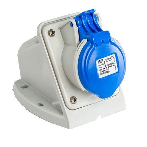 Base enchufe industrial hembra 2P+T 220V IP44 superficie 16 A Azul