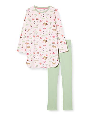 Sigikid Mädchen Mini Pyjama 2-teilig aus Bio-Baumwolle, Größe 086-128 Pyjamaset, Rosa/Grün, 128