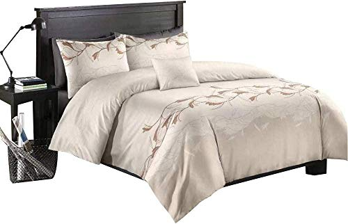 XZHYMJ European Jacquard Set Double Retro Floral Bedding Cover Purple for Girls Women Royal Embroidered Flowers Branch Bed Cover Microfiber Comforter Cover 3 Pieces-SingleWhite