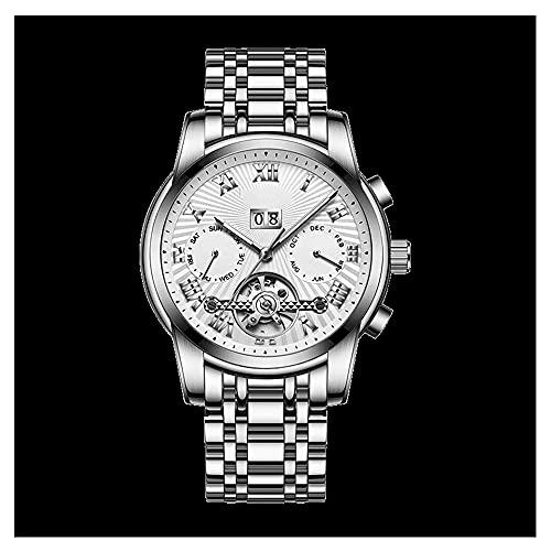 La Moda Relojes Hombre, Negocios Cuarzo Simulado,Relojes De Pulsera Cronografo Diseñador Impermeable ,Acero Inoxidable Cinturón De Malla Relojes De Pulsera (Color : Silver)