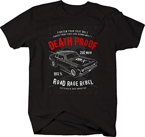 Death Proof Distressed Muscle Car Racing Vintage Skull Lightning Bolts Tshirt - 2XL Jet Black