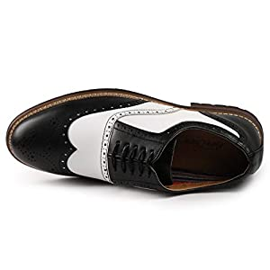 Metrocharm MC315 Men's Wing Tip Lace Up Oxford Shoe (12, Black/White)