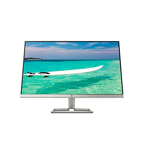 "HP – PC 27f Monitor 27"" FHD 1920 x 1080 a 60 Hz, IPS, Antiriflesso, Borderless, Tempo risposta 5 ms, AMD FreeSync, Regolazione Inclinazione, Comandi su schermo, Low blue light, VGA, HDMI, Argento"