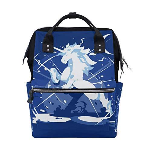 Cartoon-Einhorn-Windel-Rucksack, personalisierbar, Rucksack für Mütter, Mädchen, Frauen, Schule, Reisen, Wandern, Laptop, Babytasche