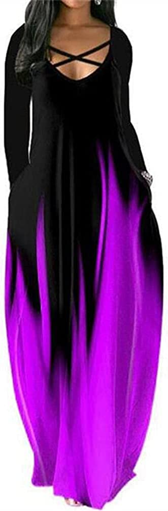 FORHVIPS Women's Gradient Casual Maxi Dress Long Sleeve Floor Length Loose Long Dresses with Pockets