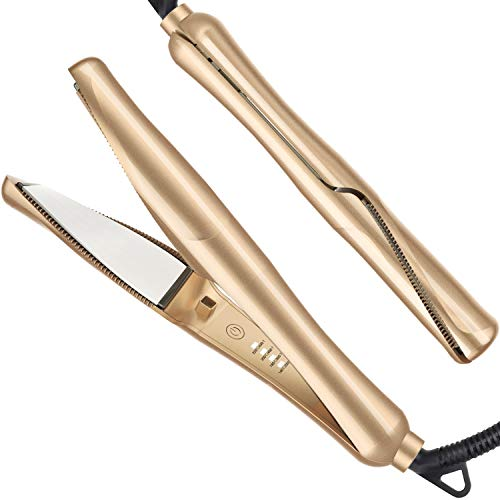 USHOW Hair Straightener and Curler 2 in 1 Professional Flat Iron for Hair Straightening Curling Suitable for All Hair Types, Dual Voltage - Gold (Gold)