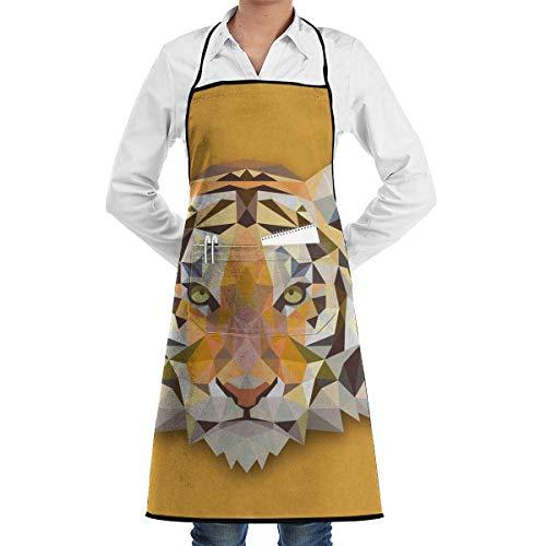 xcvgcxcvasda Einstellbare Latzschürze mit Tasche, Tiger Commercial Restaurant and Home Kitchen Schürze Neck Strap- Extra Long Ties Strong Black Cooking, Baking, Crafting, Gardening, BBQ