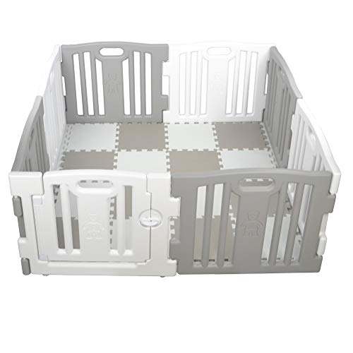 Parque de Bebe XL 8 Piezas Star Ibaby Play Twin/Incluye alfombra puzzle 16 piezas/Multiples Formas de Montaje Color Blanco&Gris