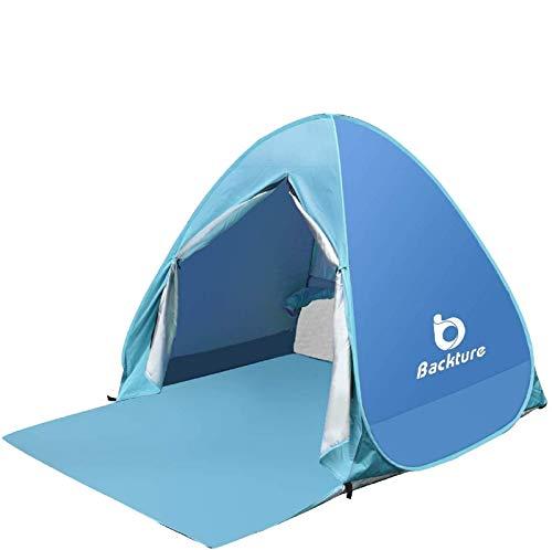 BACKTURE Pop Up Campingzelt,Strandzelt UPF 50+ UV Wasserdicht Schutz 2-3 Personen Strandmuschel Familien Sonnenschutz Strandzelt Selbstaufbauend Automatisch Schutzzelt Sonnenschirm Haus am Strand