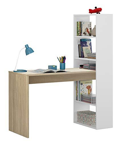 Mobelcenter - Escritorio y estantería Reversible - Mesa de Oficina o Escritorio con estantería (Blanco y Roble) - 1157