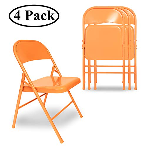 VECELO Folding Chair Triple Braced amp Double Hinged Back with Metal Frame for Home Office Orange