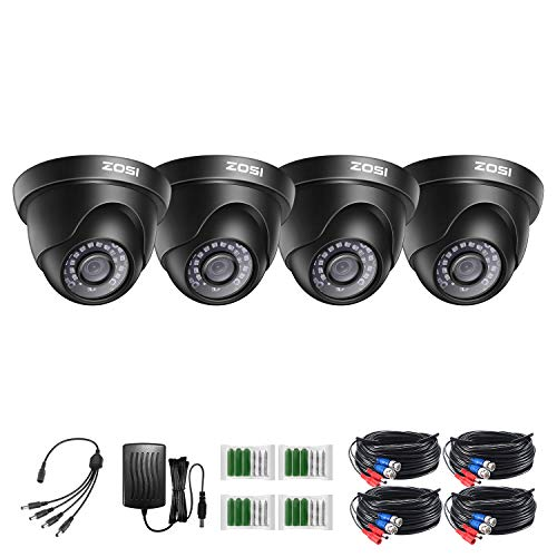 ZOSI 4 Pack 2MP 1080p HD-TVI Home Security Camera Outdoor Indoor 1920TVL, 24PCS LEDs, 80ft Night Vision, 90°View Angle, Weatherproof Surveillance CCTV Black Dome Camera