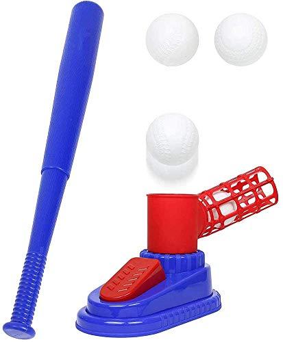 J & J Baseball Pitching Machine, Baseball Trainer für Kinder, 24 Zoll zusammenklappbaren Plastikstock und 3 Kunststoff Baseballs