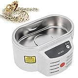 Limpiador ultrasónico, mini máquina de limpieza ultrasónica para el hogar Limpiador ultrasónico de joyas Limpiador ultrasónico de baño Portátil para joyería Relojes Dentaduras postizas Gafas(EU)