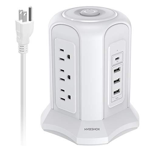 USB C Power Strip Tower Surge Protector Electric Charging Station with USB-C,9 AC Outlets,3 USB Ports,One Type C Port,9.8ft Extension Lead for Office,Home, Cafe,Shop,Restaurant(White) NVEESHOX