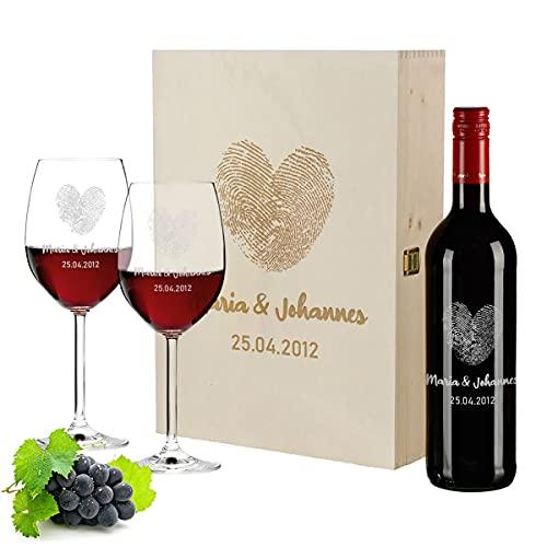 polar-effekt 4-TLG graviertes Geschenkset | personalisierte 700 ml Weinflasche, Holzkiste und 2 Weingläser | Hochzeitstag, Romantik, Liebe | Motiv Herzen