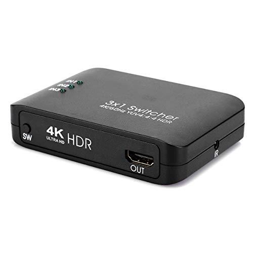 Queen.Y Conmutador Hdmi 3X1 4K Hdmi 2. 0 Conmutador Adaptador Divisor de Control Remoto IR HD con Indicador Led (Negro) Compatible con Resolución 4K Ultra HD