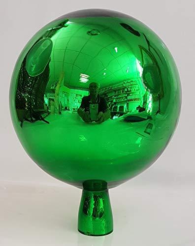 Oberstdorfer Glashütte Gartenkugel farbige Rosenkugel grün verspiegelt dekorative Kristallglas Gartenstecker wetterfest mundgeblasen Durchmesser ca.15 cm