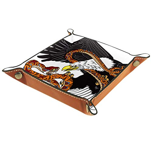 Bandeja de Valet, colector de Cuero de PU, Bandeja organizadora, Caja de Almacenamiento para Relojes, Joyas, Monedas, Billetera con Llave, águila, Serpiente Que Lucha, Serpiente