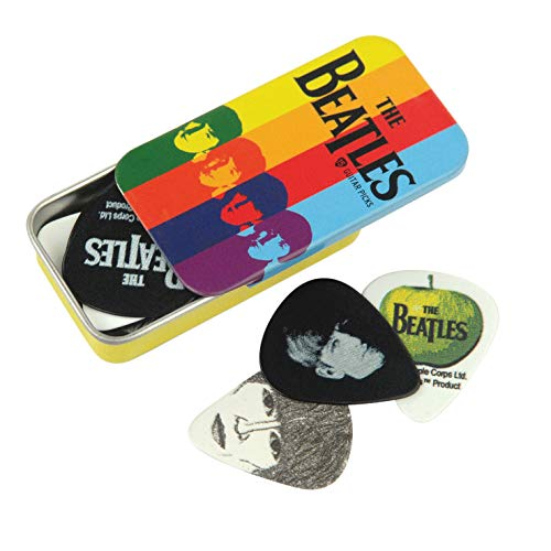 Planet Waves 1CAB4-15BT2 Beatles Signature Celluloid Pick Box Motiv Stripes mit 15 Picks in Medium