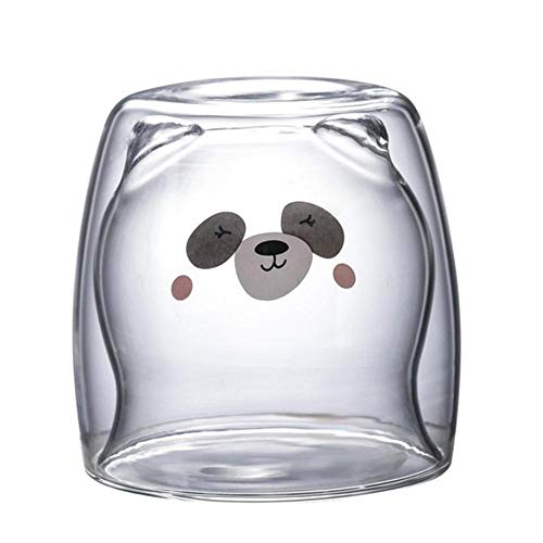 ALENAOO 3D Oso de Panda Adorable de 2 niveles Vasos de cerveza innovadores Taza de café de doble pared resistente al calor Vaso de leche a la mañana ladrillo de café