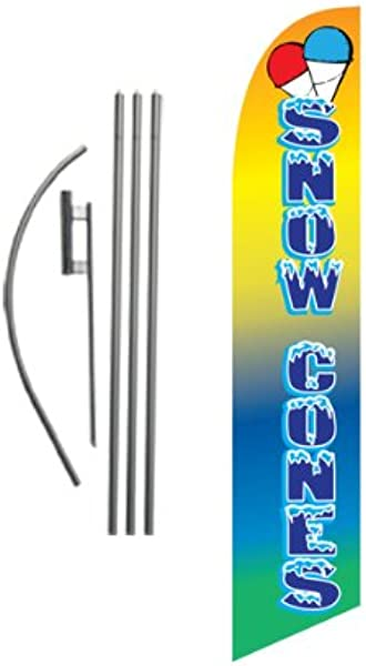 Snow Cones Advertising Feather Banner Swooper Flag Sign With Flag Pole Kit And Ground Stake