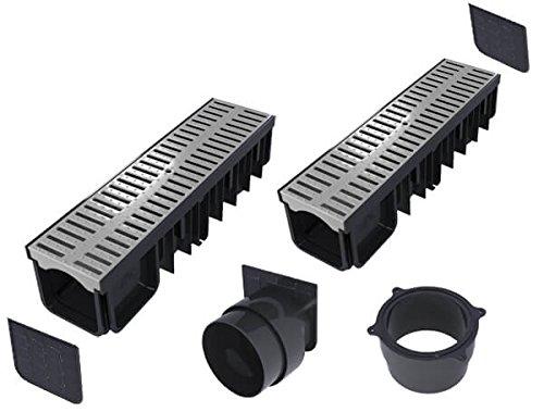 'S'lon Entwässerungsrinne Set 4 Meter | Kunststoff grau Klasse A15 (1.500 kg) | Typ 90 (Entwässerungsrinnen)