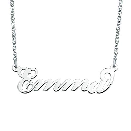 SexyMandala Personalized Name Necklace Initial Necklace Customized Original Font Pendant Jewelry Sterling Silver Same Day Shipping Gift for Emma