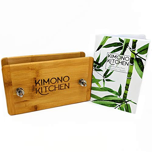 Bamboo Tofu Press   Removes Excess Water from Tofu in 10-15 Minutes   Solid Wood Tofu Press with Stainless Steel Hardware