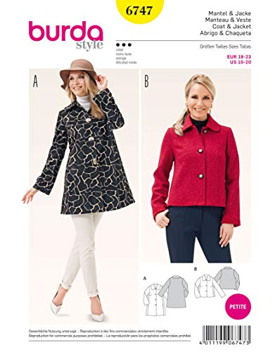 Burda Schnittmuster 6747Misses 'Coat und Jacke Weiß