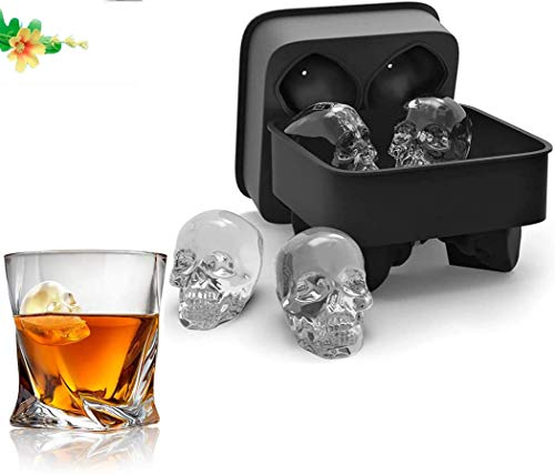 3D Skull Ice Mold-2Pack,Easy Release Silicone Mold,8 Crazy and Funny Ice Skull for Whiskey,Cocktails and Juice Beverages,Black