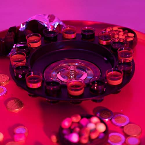 Relaxdays Roulette Trinkspiel, Partyspiel mit Drehrad, Schnapsgläsern & Kugeln, Roulettespiel für Partys, rot/schwarz - 5