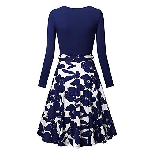 Damen Langarm Kleid mit V-Ausschnitt casual bedrucktes kleid Retro Elegant Floral Dress, Faltenrock Ausgestelltes Kleid Swing Kleid