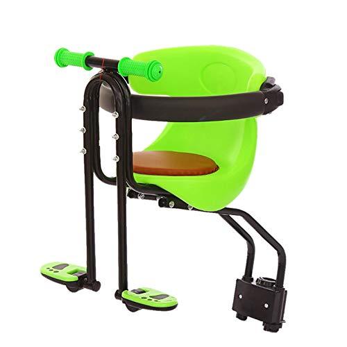 UALSD Asiento De Seguridad para NiñOs De 25 Kg Asiento De Bicicleta, Silla De ProteccióN Infantil Delantera con Respaldo De Pasamanos con Soporte De Pedal para NiñOs De 1 A 4 AñOs Green